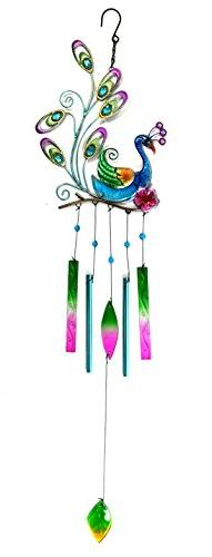 Bejeweled Display® Beautiful Peacock w/ Stained Glass Wind