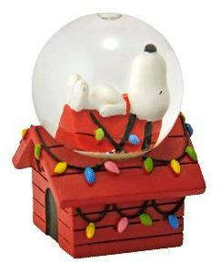 Peanuts Snoopy on Doghouse Mini Christmas Snowglobe by Westl