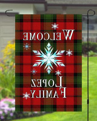 Personalized Christmas Banner Checkered Style