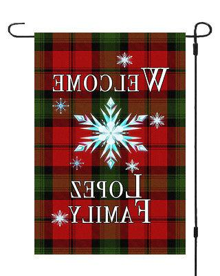 personalized christmas star garden banner flag 11x14