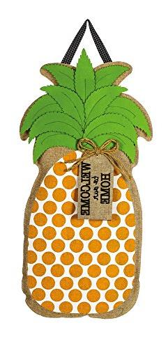 Evergreen Welcome to our Home Pineapple Hanging Outdoor-Safe