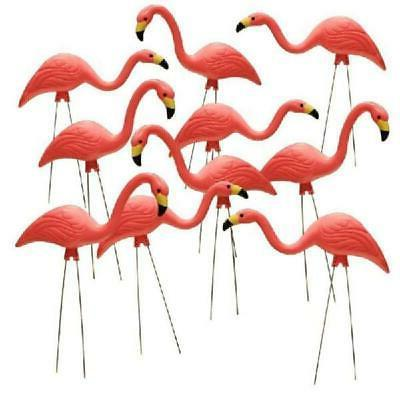 Pink Flamingo Yard Statue 10-Pack Outdoor Lawn Decor Metal L