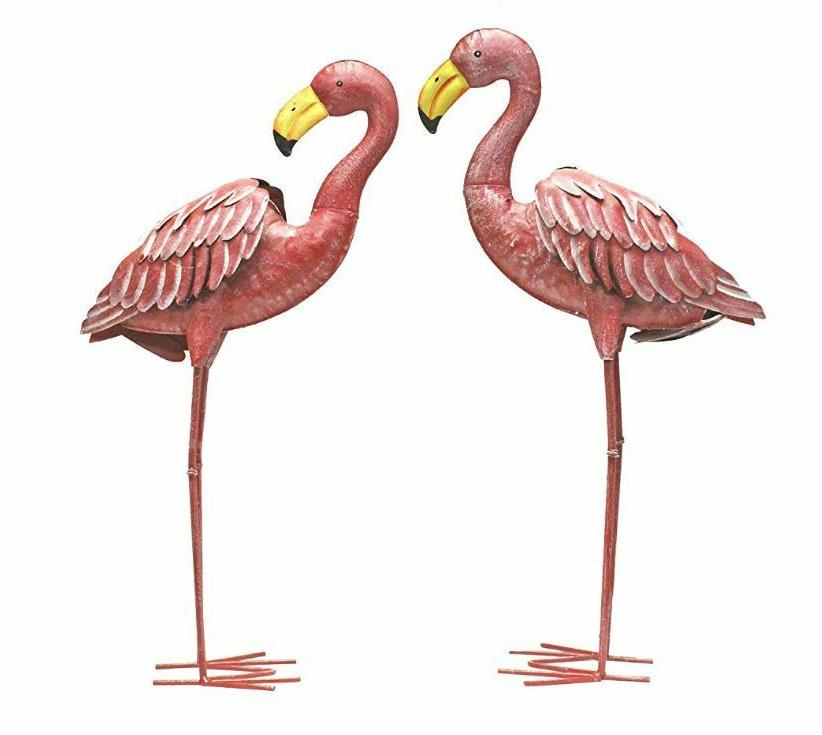 Pink Metal Flamingo Statues Garden Lawn Yard Decor Sculpture