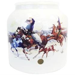 For Your Water 2.5 Gallon Porcelain Crock - Cowboy Rodeo