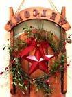 "Primitive Barn Star Christmas Sleigh 24"" Welcome Decoration"