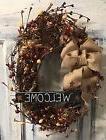 12 Inch Primitive Country OvalGrapevine Wreath W/homespun, B
