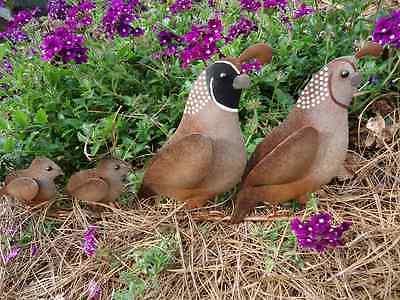 quail family yard stake metal bird statue