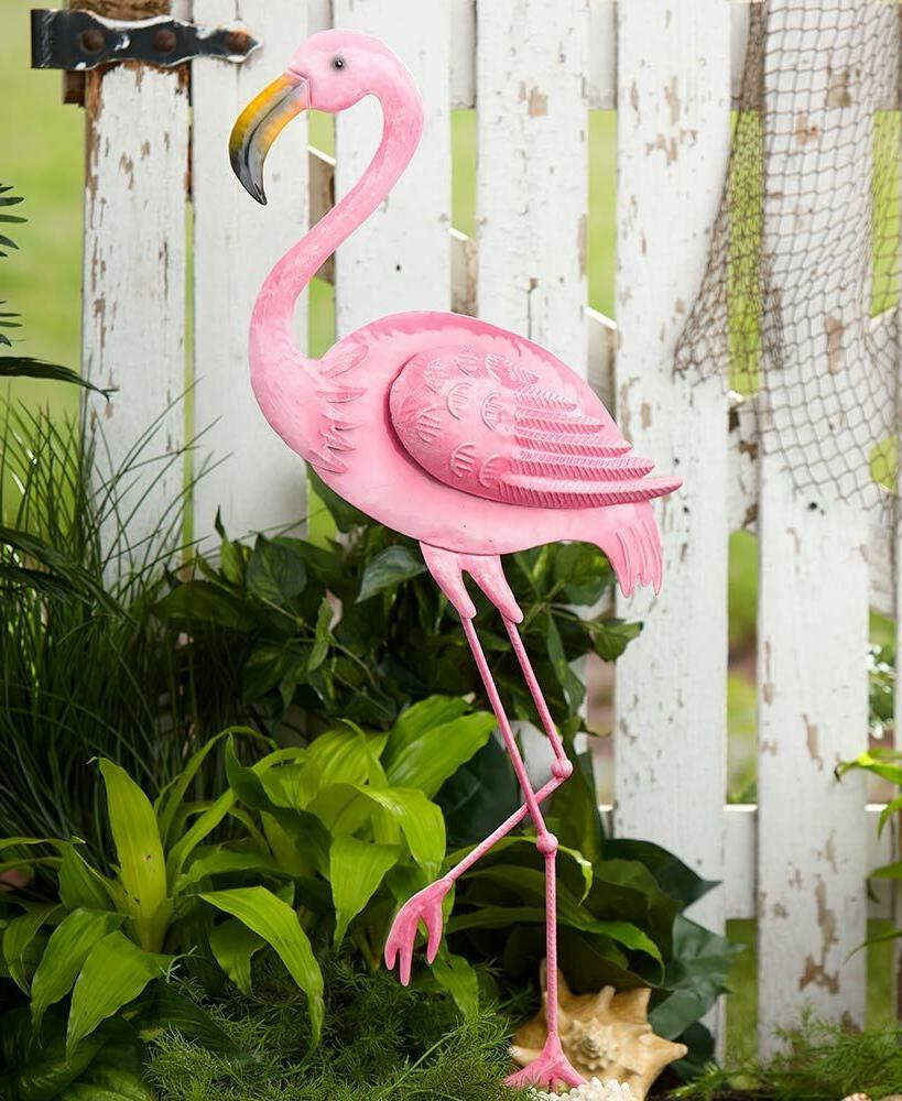 right pink flamingo garden yard stake statue
