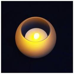 Round Tea Light Flameless LED Candle in Frosted Glass Votive
