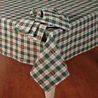 Sage Green & Tan Plaid Tablecloth Embroidered Leaves Cabin L