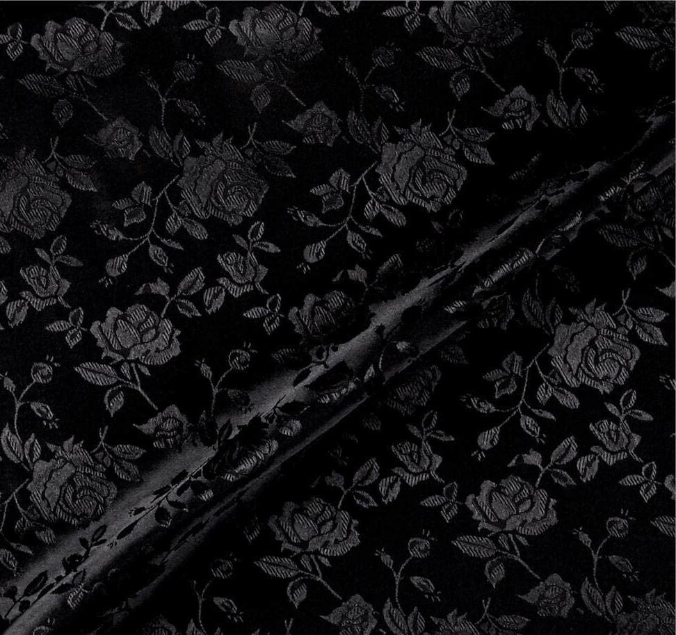 satin black brocade floral jacquard backdrop fabric