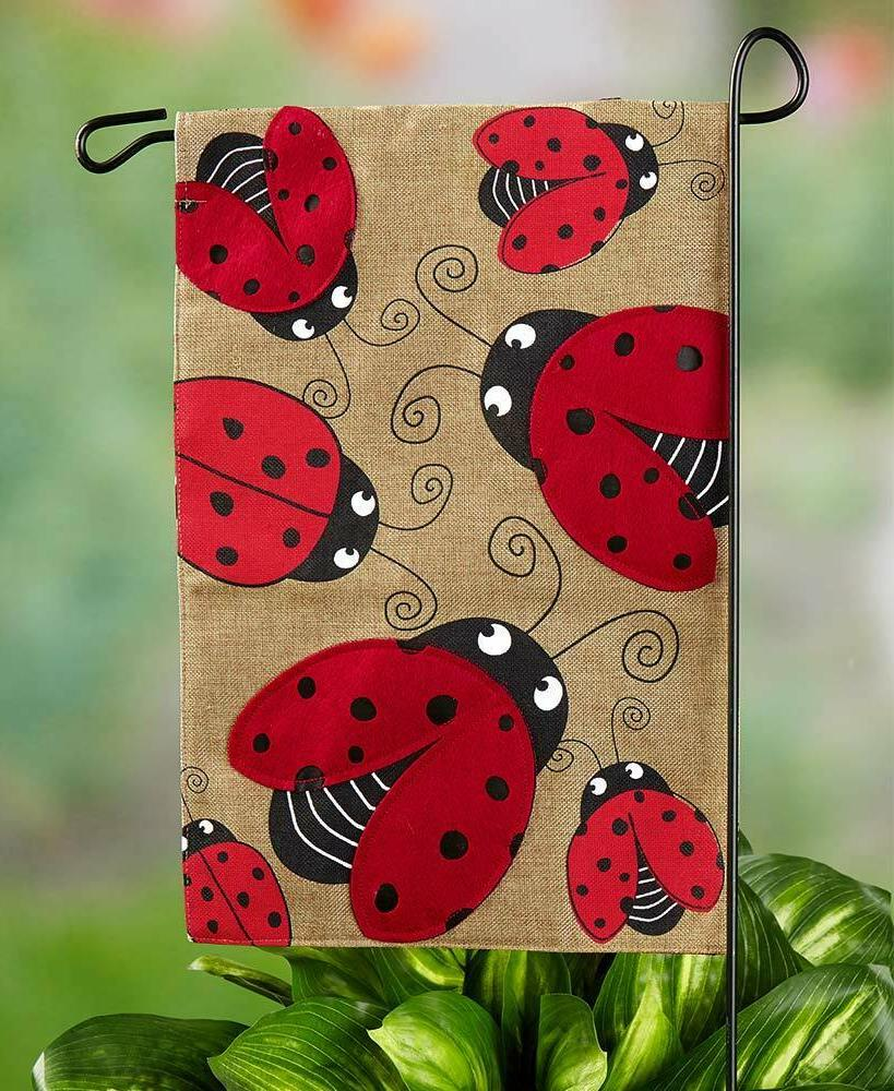 Set of 3 Ladybug Stepping Stones Burlap Flag Yard Lawn Outdoor