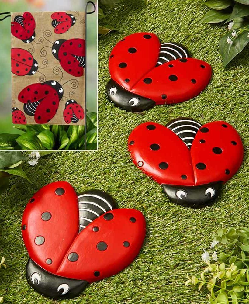 set of 3 ladybug stepping stones or