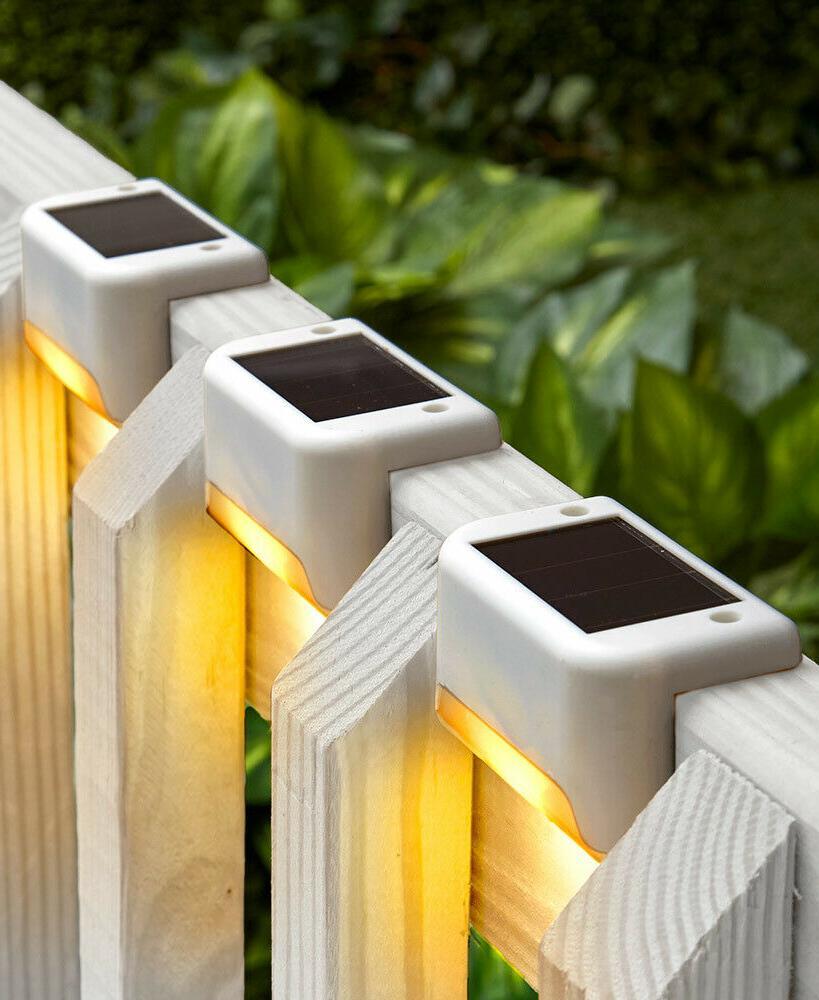 Set Of 3 Solar Deck Lights Porch Patio Steps Yard Outdoor Li