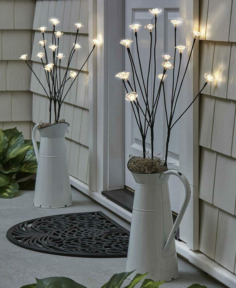 Set of 3 Solar Flower Branches Lights Garden Yard Lawn Plant