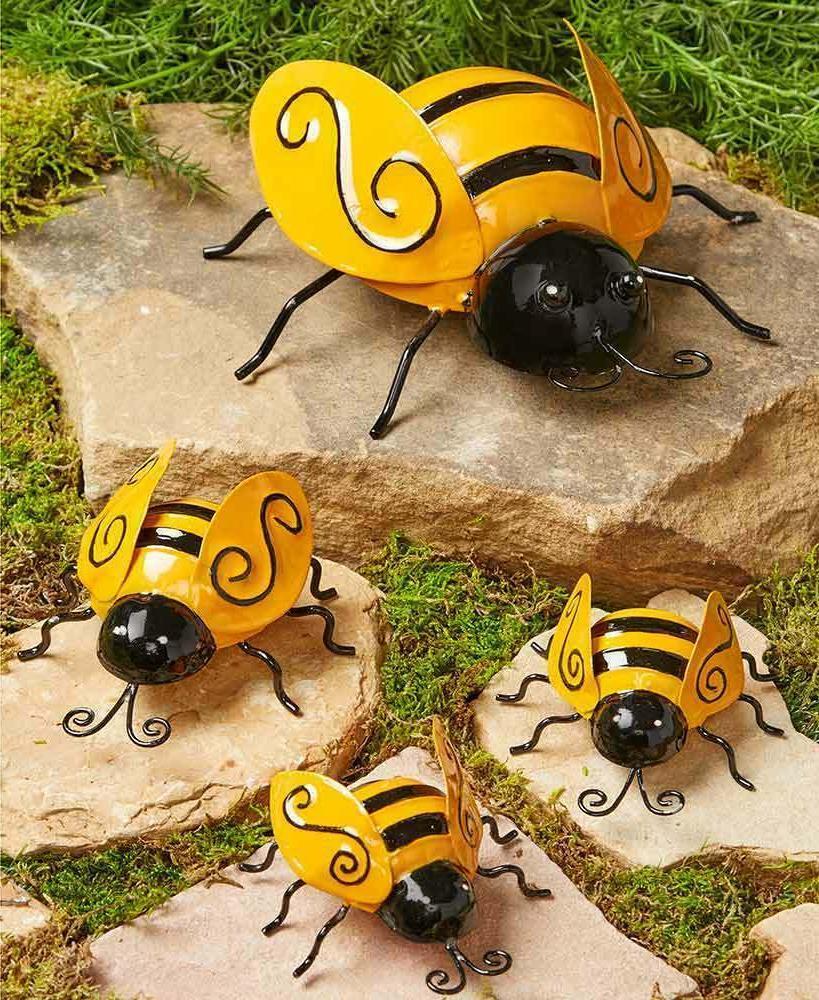 set of 4 metal garden ladybugs or