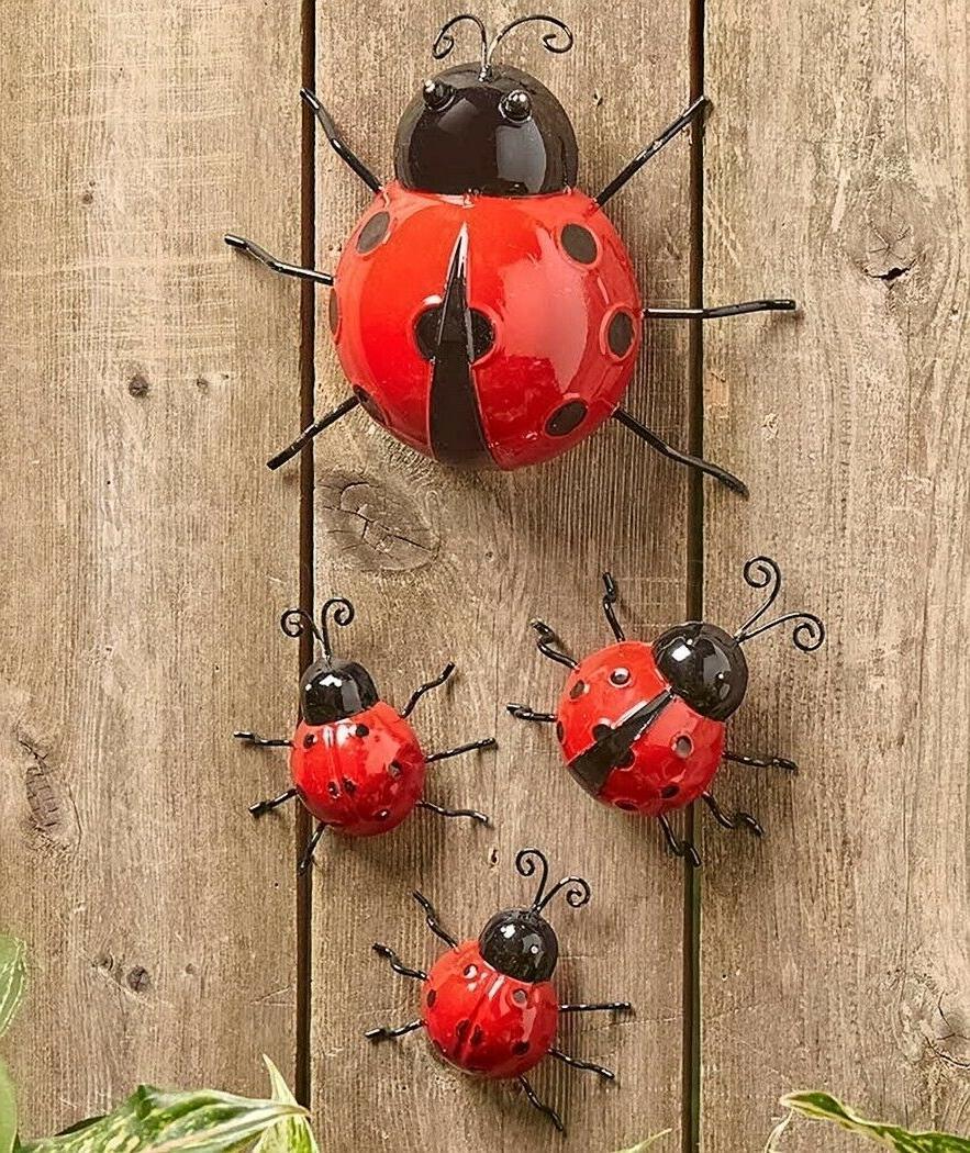 set of 4 metal garden ladybugs wall