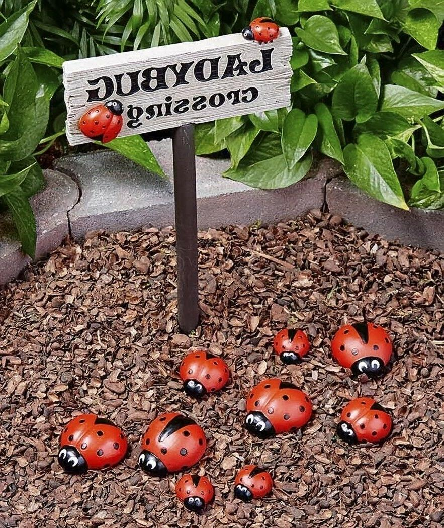 Set 9 Ladybug Flowerbed Yard Lawn Porch Outdoor Home Decor