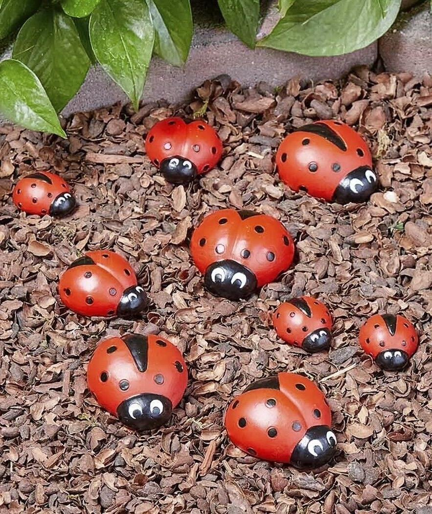 set of 9 stones ladybug garden flowerbed