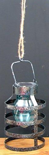 VoojoStore Silver Solar Lantern with Blue Globe - Perfect Gi