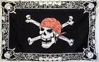 SKULL CROSS BONES BORDER RED CAP BANDANA JOLLY ROGER PIRATE