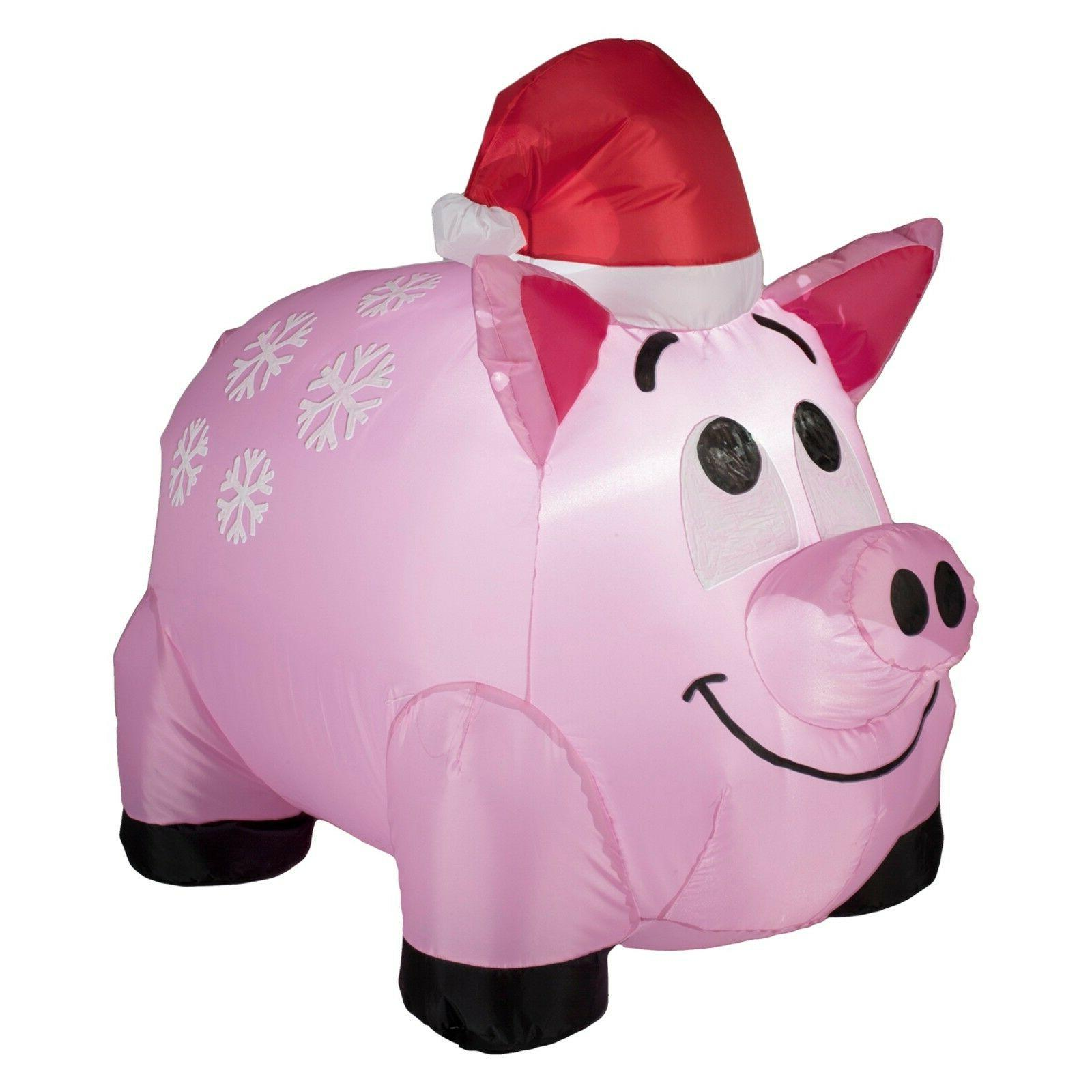 New ! Snowflakes Pig Inflatable Gemmy Airblown Christmas Dec
