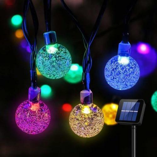 solar 30 led string light crystal ball