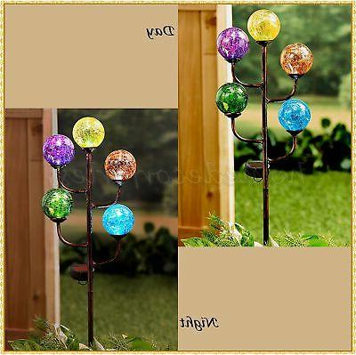 Solar 5-Light Colorful Crackled Glass Globe Ball Garden Yard
