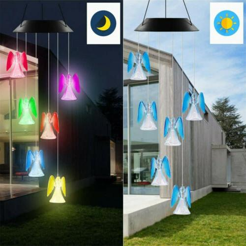 solar color changing led angel wind chimes