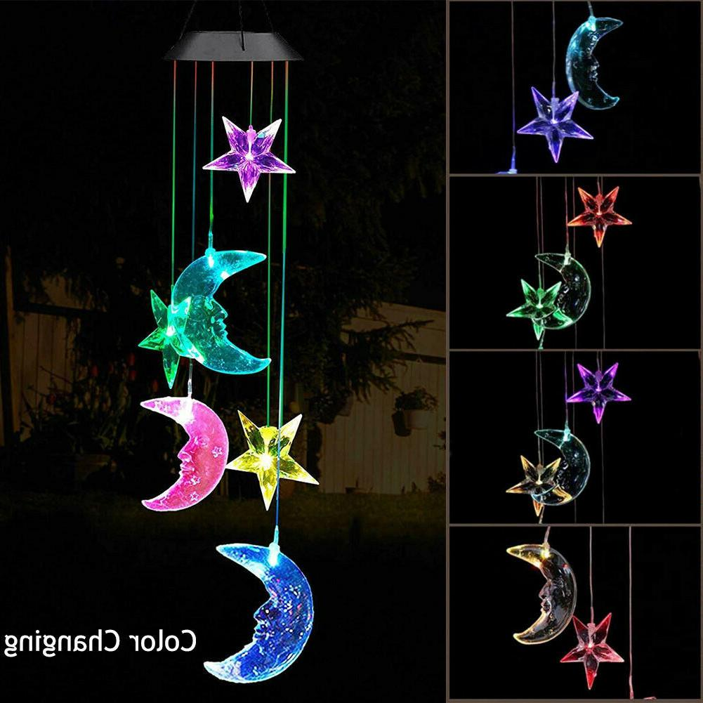 solar color changing led moon and star