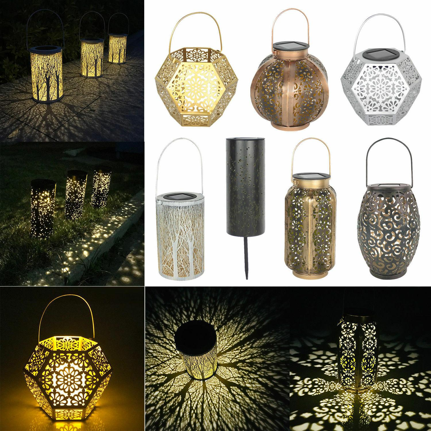 solar hanging led light retro hollow metal