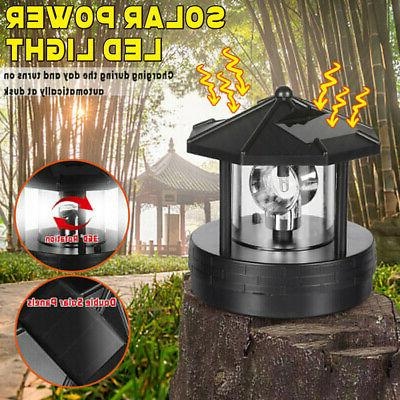 LED Solar Powered LED Lighthouse Statue Rotating Garden Yard