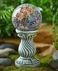 Multi Color Solar Lighted Mosaic Garden Ball on Column Yard