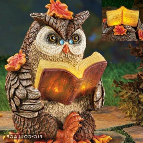 Solar Power Lighted Owl Reading Centerpiece Fall Autumn Than