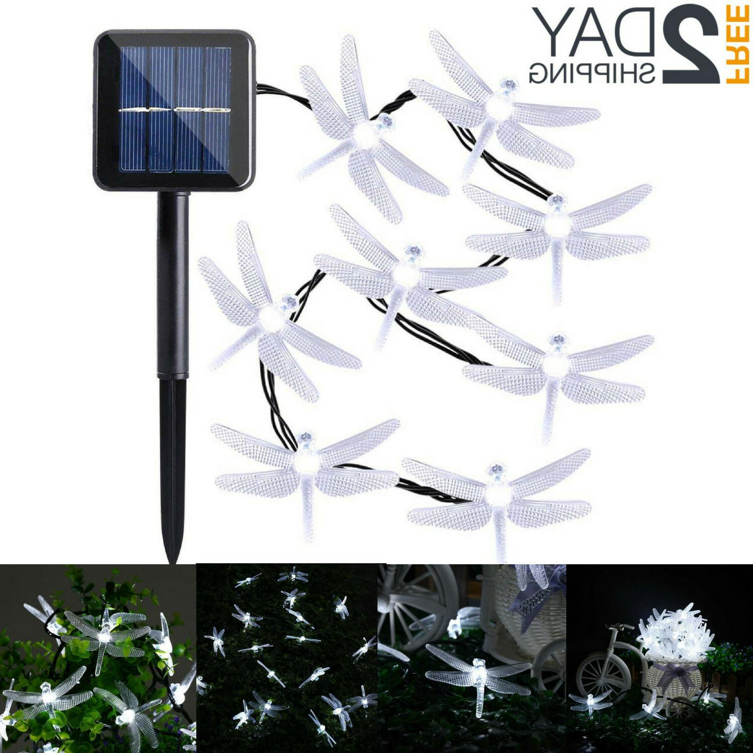 Outdoor Solar Powered 20 LED Dragonfly String Light Garden P