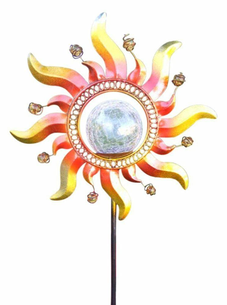 solar powered glass crackle stake