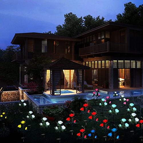 XLUX Outdoor Rose Lights Flower Stake, Christmas Decoration,