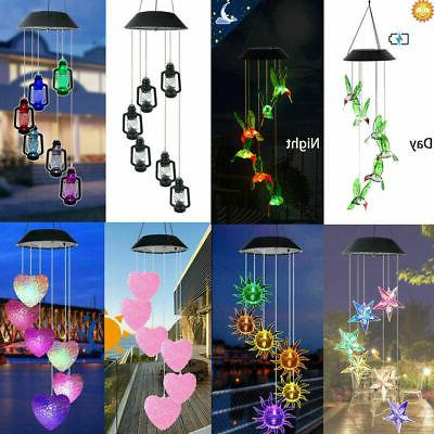 solar powered wind chimes hanging color changing