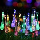Solar Outdoor String Lights 20ft 30 LED Water Drop Fairy Wat