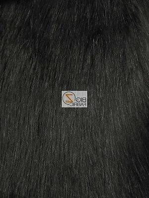 SOLID ARCTIC FOX FUR FABRIC - Black - BY THE YARD DIY COAT C