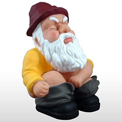 squatting garden gnome statue funny outdoor art