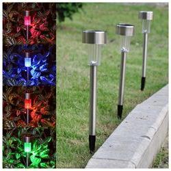 24 Pcs Stainless Steel Solar Powered Garden LED Light Pathwa
