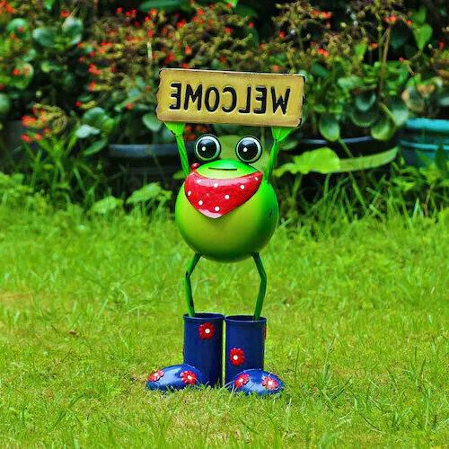 Steel Welcome Frog Animal Statue 18 Decor