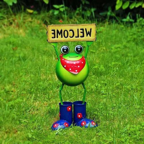 Steel Frog Statue 18 Outdoor Decor