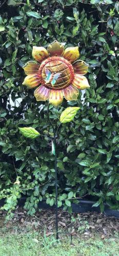 Sunflower Garden Yard Stake Metal And Glass Yard Art Decor 3