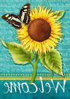 """Sunflower Welcome Summer Garden Flag Butterfly Floral 12.5"""""""
