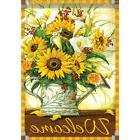 """Sunflowers and Callas Welcome House Flag  28"""" x 40"""" Double s"""