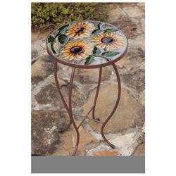 Sunflowers Round Glass Side Table