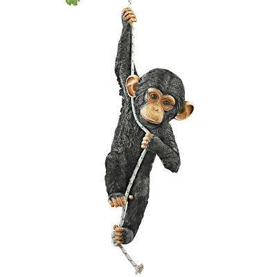 swinging monkey hanging yard decoration black by