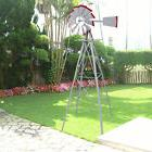 8Ft Tall  Windmill Ornamental Wind Wheel Silver Gray And Red